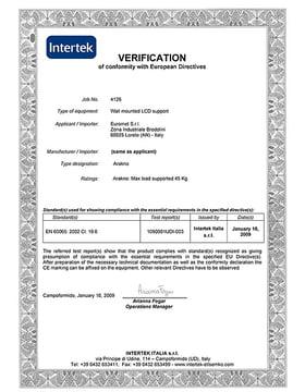 Intertek Certificate
