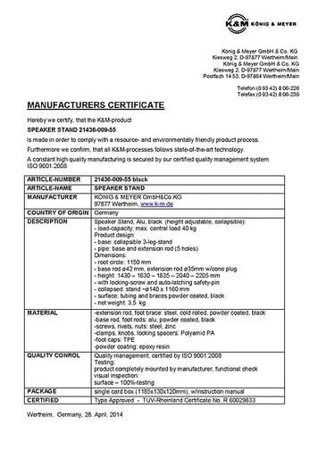 Manufacturers certificate