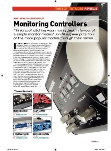 Future Music Monitoring Controllers  Presonus Central Station