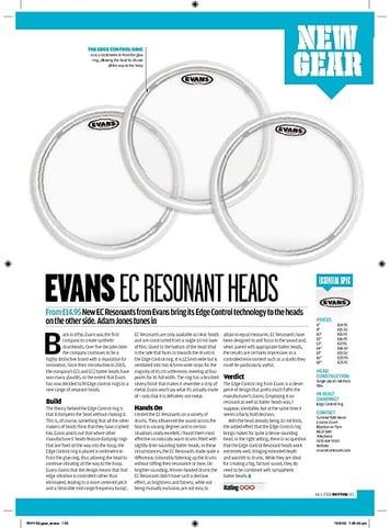 Rhythm Evans EC Resonant Drum Heads