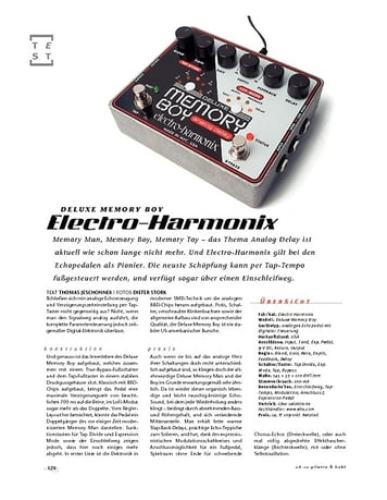Gitarre & Bass Electro-Harmonix Deluxe Memory Boy, Effektpedal