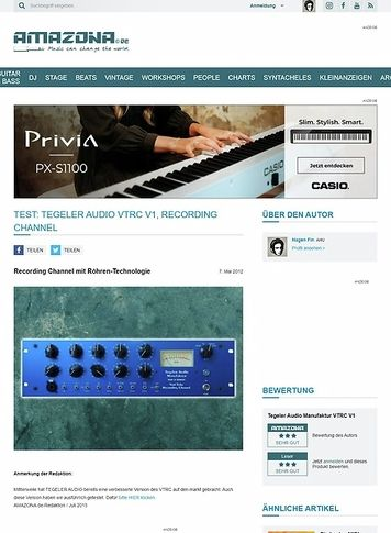Amazona.de Test: Tegeler Audio Manufaktur, Vari Tube Recording Channel, Röhren-Channelstrip