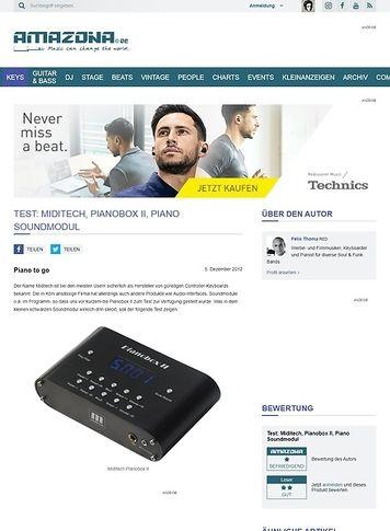 Amazona.de Test: Miditech, Pianobox II, Piano Soundmodul