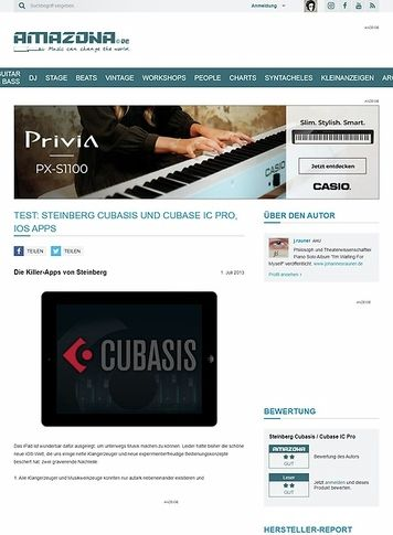 Amazona.de Test: Steinberg Cubasis und Cubase IC Pro, iOS Apps