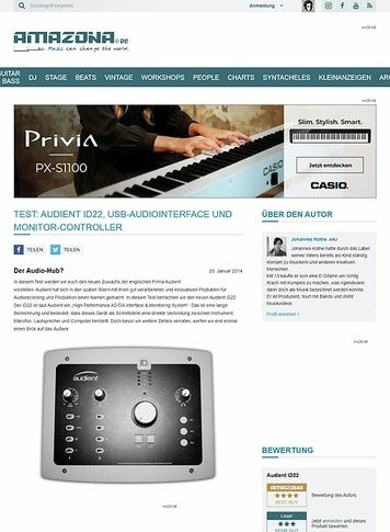 Amazona.de Test: Audient iD22, USB-Audiointerface und Monitor-Controller