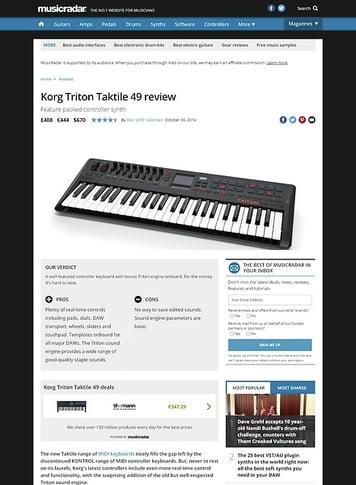 MusicRadar.com Korg Triton Taktile 49