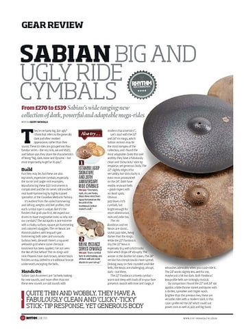 Rhythm Sabian Big And Ugly Ride Cymbals