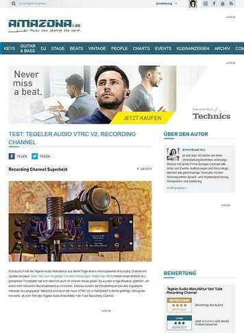 Amazona.de Test: Tegeler Audio Manufaktur VTRC V2, Recording Channel