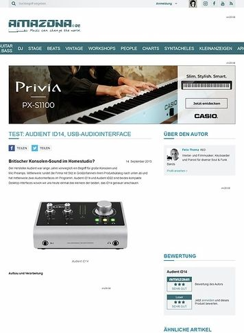 Amazona.de Test: Audient iD14, USB-Audiointerface