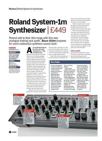 Future Music Roland System-1m Synthesizer