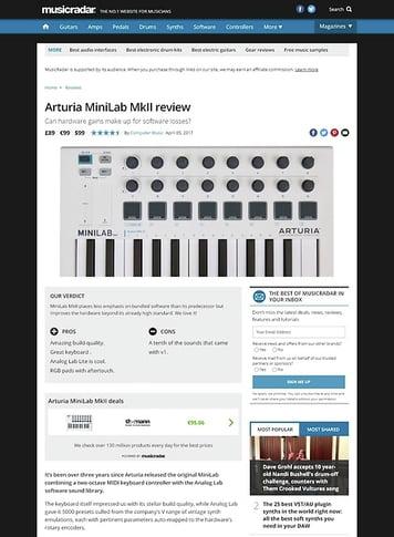 MusicRadar.com Arturia MiniLab MkII