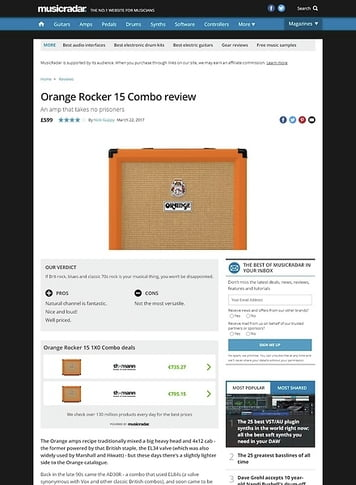 MusicRadar.com Orange Rocker 15 1X0 Combo