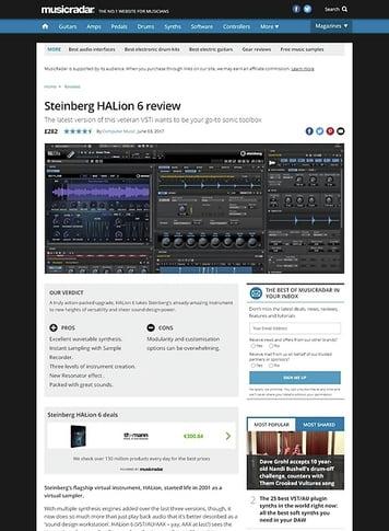 MusicRadar.com Steinberg HALion 6