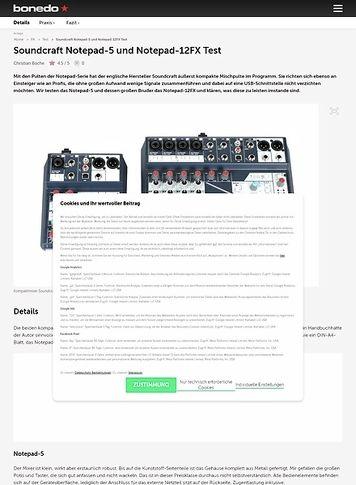 Bonedo.de Soundcraft Notepad-5 und Notepad-12FX