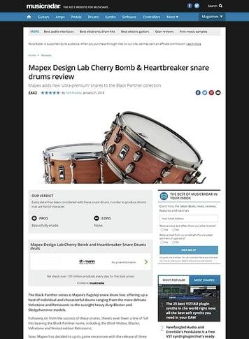 MusicRadar.com Mapex Design Lab Cherry Bomb & Heartbreaker snare drums