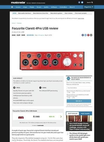 MusicRadar.com Focusrite Clarett 4Pre USB