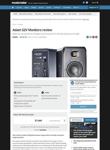 MusicRadar.com Adam S2V Monitors