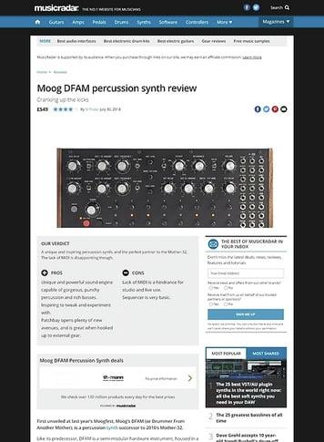 MusicRadar.com Moog DFAM percussion synth