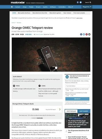 MusicRadar.com Orange OMEC Teleport
