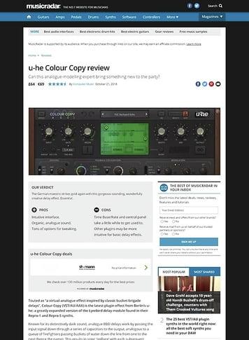 MusicRadar.com u-he Colour Copy