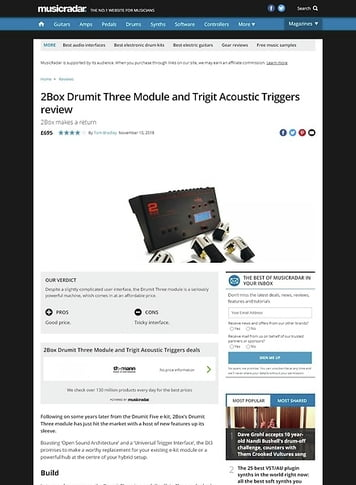 MusicRadar.com 2Box Drumit Three Module and Trigit Acoustic Triggers