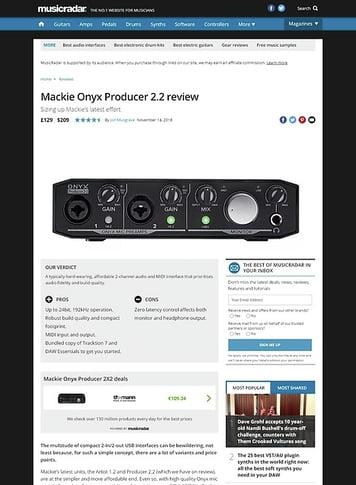 MusicRadar.com Mackie Onyx Producer 2.2