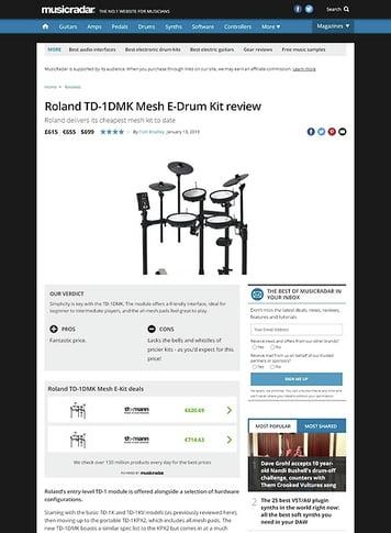 MusicRadar.com Roland TD-1DMK Mesh E-Drum Kit