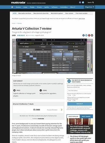 MusicRadar.com Arturia V Collection 7