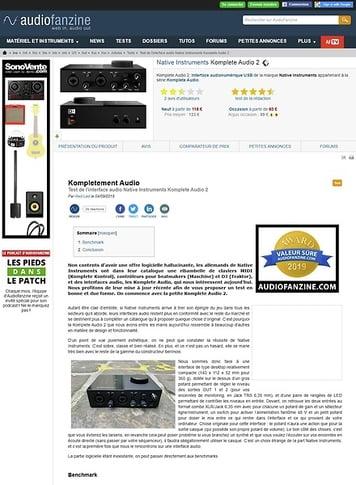 Audiofanzine.com Native Instruments Komplete Audio 2