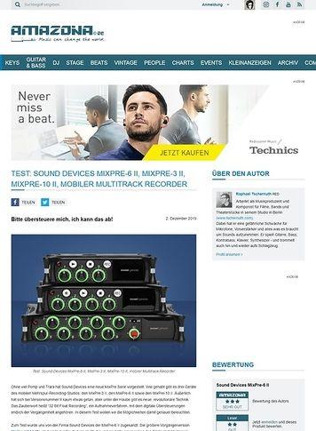 Amazona.de Sound Devices MixPre-6 II, MixPre-3 II und MixPre-10 II