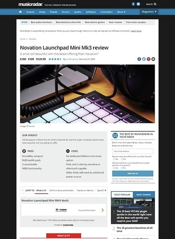 MusicRadar.com Novation Launchpad Mini MK3