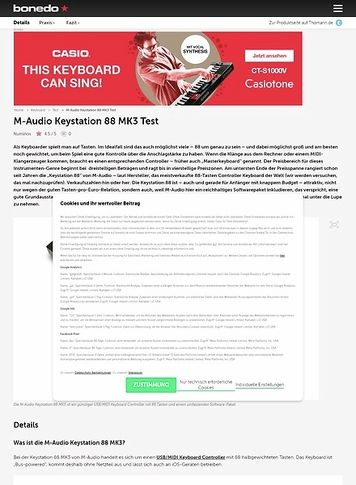 Bonedo.de M-Audio Keystation 88 MK3